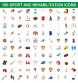 100 sport and rehabilitation set cartoon style vector image