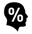 Human face with percent sign vector image