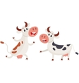 Two cows one ringing a bell and another running vector image