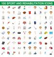 100 sport and rehabilitation set cartoon style vector image vector image