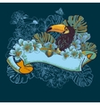 Tropical Exotic Floral Card with Toucan vector image