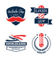 barbershop logo vintage isolated set vector image