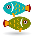 Green and blue fish on a white background vector image