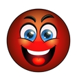 Smiling red emoticon vector image