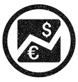 euro dollar chart rounded icon rubber stamp vector image