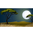 A tree and the bright fullmoon vector image vector image