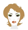 Redheaded woman with makeup and hairstyle vector image