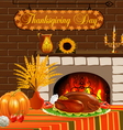 card for Thanksgiving with turkey and vegetables vector image