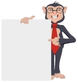 Monkey Businessman showing sheet of paper vector image