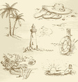 Hand drawn summer time sketch vector image