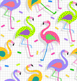 Retro 80s flamingo pattern background vector image