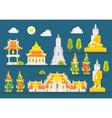 Thailand temple infographic elements set vector image