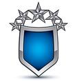 Majestic blue emblem with five silver decorative vector image