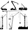 Set of black hoisting cranes isolated on white vector image vector image