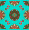 flower seamless on blue green and brown colors vector image