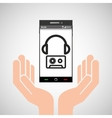 hand mobile phone headphone cassette music vector image