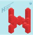 plastic blocs letter h vector image