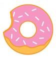 Bitten Glazed ring doughnut with sprinkles vector image
