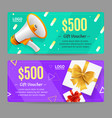 gift voucher card set vector image