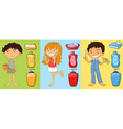 Boys and girl brushing teeth vector image vector image
