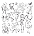 Black-white sketch sport players vector image
