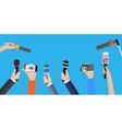 Set of hands holding microphones vector image
