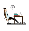 Tired office man sitting at desk vector image