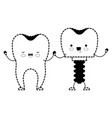 tooth and tooth implant with screw and holding vector image