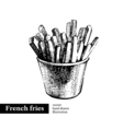 French fries Vintage fast food hand drawn sketch  vector image