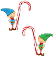 Elf Mascot Holding Candy Cane vector image