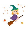 Cute witch flying on a broom vector image