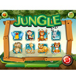 Game template with wild animals in jungle vector image