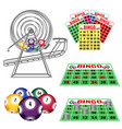 lottery machine with balls inside bingo cards and vector image