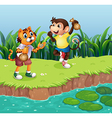 A monkey and a tiger playing vector image vector image