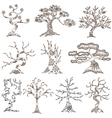 set of 10 decorative trees vector image