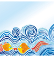 Beautiful sea wave fishes vector image
