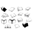 Black and white open books icons vector image vector image