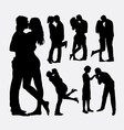 Valentines kissing couple people silhouettes vector image