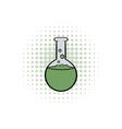 Flask with liquid comics icon vector image