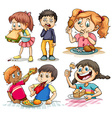 Children eating different kind of food vector image