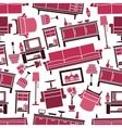 Dark pink seamless furnitures pattern background vector image vector image