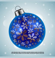 blue christmas ball with golden snowflakes vector image