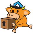 Bull and box vector image