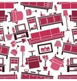 Dark pink seamless furnitures pattern background vector image