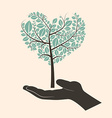 Flat Design Heart Shaped Abstract Green Tree in vector image