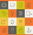 multicolor coffee thin line icons set vector image