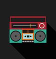 Retro vintage boombox radio flat design vector image