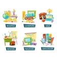 School Training Education Objects Set vector image