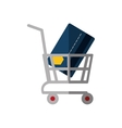 shopping cart online credit card bank color shadow vector image