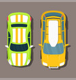 top view colorful car toys pickup automobile vector image
